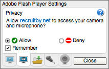 Allow flash player to access camera